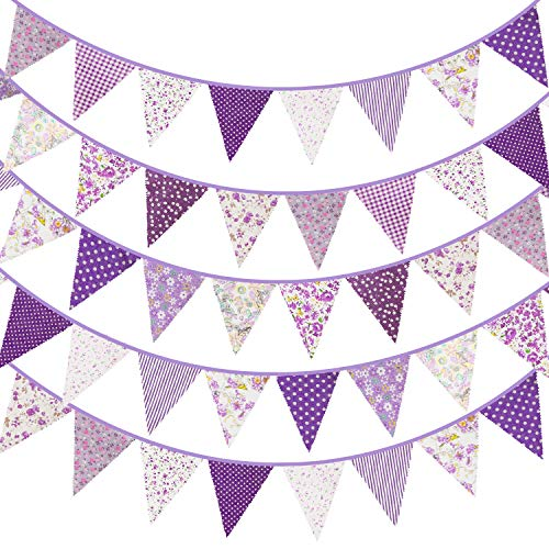 Whaline 40ft Fabric Bunting Banner Purple Floral Vintage Bunting Flags Reusable Cotton Triangle Flag Garland with 42pcs Pennants for Baby Shower Garden Wedding Birthday Party Decoration