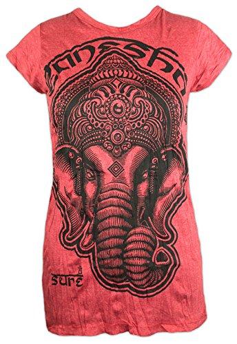 Sure Clothing Camiseta Mujer Ganesha - Dios Elefante Talla S M L Espíritu Tao Zen Budismo Yoga Boho Hinduismo Namaste (S, Rojo)
