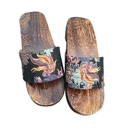 Japanische Holz Clogs Sandalen Herren Traditionelle rutschfeste Geta Hausschuhe Indoor Outdoor - Kirin
