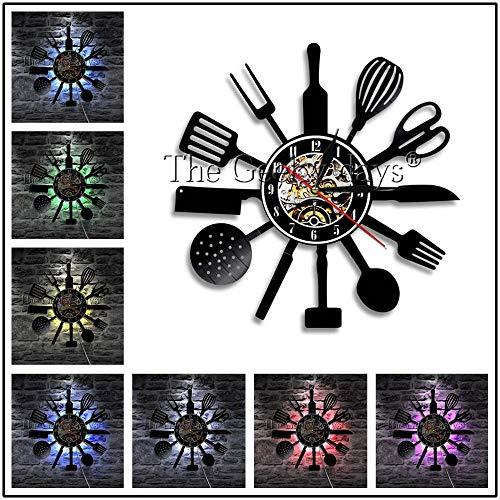 1 Stück Gabel Messer und Löffel Geschirr 3d Umriss moderne Wandlampe Vinyl Schallplatte Wanduhr Küchengerät Dekoration LED Nachtlicht
