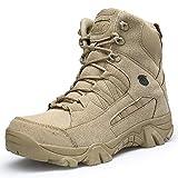 LEIKEI Botas Militares Tácticas De Combate Trekking Al Aire Libre Botas De Caña Alta Senderismo En El Desierto Caminar Botas Ligeras Trabajo Zapatos Duraderos para Hombres,Beige-46