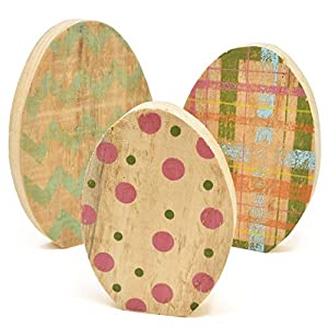 SPRING DECORATION - Easter wooden egg decor are sure to decorate your table, mantel or shelf on this special holiday of easter. They are beautifully designed comes in a set of 3 in each a different color.