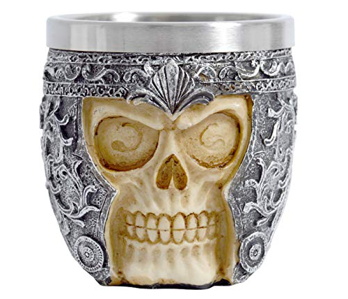 Totenkopf Tasse Totenschädel Skull Becher 200 ml ohne Henkel Fantasy Gothic Mittelalter Gefäß Trinkbecher Mittlelaltermarkt Edelstahl Heavy Metal Deko Accessoire (Totenkopf- silber)