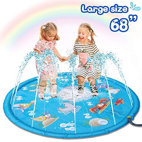 Sunshine smile wasserspielzeug Garten für Kinder,Splash Pad,Wasserspielzeug spielmatte,Splash Spielmatte,Splash und Sprinkler Pad Spielmatte,Wassermatte Pool Kinder,Sprinkler Matte Kinder