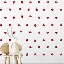StickerDeen | London Dots Decoratie Vorm Verwijderbare Muur Art Vinyl Stickers | (Pack van 168) (rood)