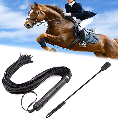 GABraden 18' Riding Crop Jump Bat and Faux Leather Short Horse Riding Crop,Premium Quality Crops,Equestrianism Horse Crop,Black