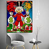 ZGZART ALEC Monopoly Cartoon Duck with Money Canvas Painting Poster Print Marble Wall Art Painting Decorative Picture Modern Home Decor/50x70cm - Frameless
