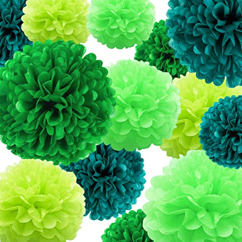 Decorazioni per pon pon di carta velina 22 pezzi, palla di fiori di carta verde per compleanno addio al nubilato matrimonio baby shower addio al nubilato decorazione vivaio