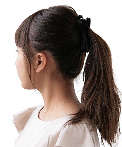 ボナバンチュール(Bonaventure)ミルフィーユリボンバナナクリップグログラン小さめレディースヘアアクセサリー人気ブランドヘアクリップ髪留めブラック