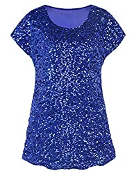 Blue Loose Bat Sleeve Party Tunic Tops