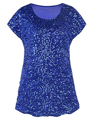 PrettyGuide Women's Sparkly Shirt Glitter Sequined Dolman Loose Tunic Blouse Top Blue L/US14-16