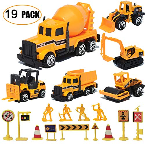 19 Pack Construction Toys,Mini Diecast Cars Play Sets Dumper,Bulldozers,Forklift,Tank Truck,Asphalt Car,Excavator,Engineering Worker,Construction Traffic Sign Set Toy for Kids Boys and Girls