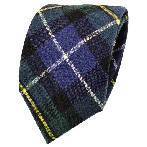 ohne Markenname Designer Wollkrawatte blau marine grün gelb creme kariert - Krawatte Wolle wool