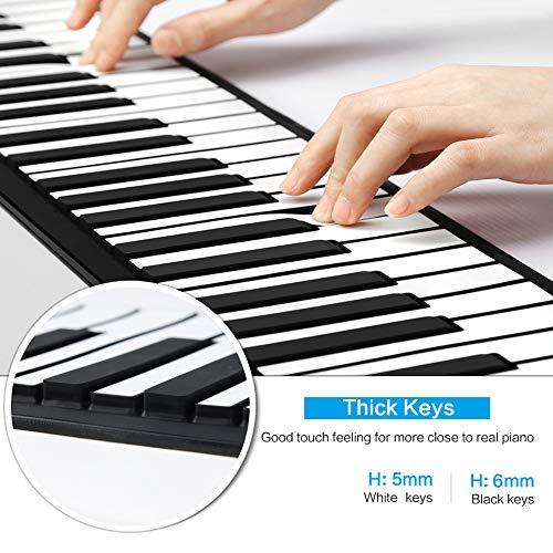 Lujex Roll Up Piano Teclado Portátil 61 Teclas,Teclado de Piano Digital Silicona Flexible Electronic Piano Teclado MIDI con USB Pianos Para Niños
