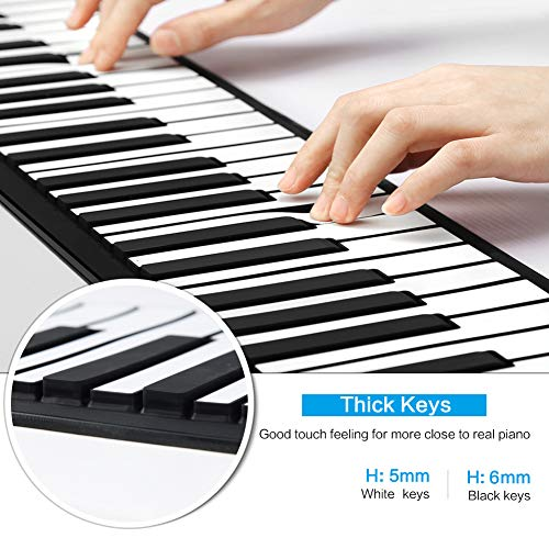 Lujex Tastiera pianoforte pieghevole 61 tasti Travel Piano pianoforte per bambini pieghevole 61 tasti Flessibile Soft Electric Klavier Digital Music Roll up Keyboard Piano (Nero)