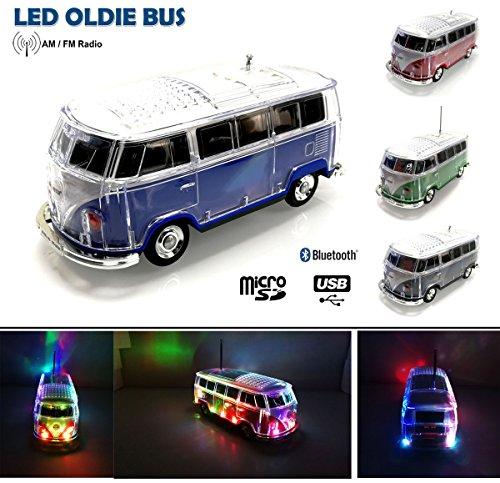 Nostalgie LED Disco Bully Bus Box | Bluetooth | BLAU | CAR Multimedia Spaeker | Radio | MP3 | USB | MicroSD |SUPER Sound |Lithium-Ionen Akku|20x7x6cm