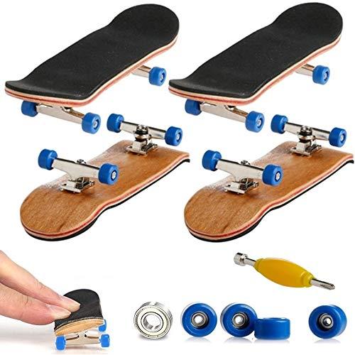 AumoToo Mini-Griffbrett, 2 Pack Profi Finger Skateboard Ahorn Holz DIY Montage Skate Boarding Spielzeug Sport Spiele Kinder Geschenk (Dunkelblau)