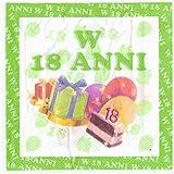 takestop® Set 36 Pezzi TOVAGLIOLI di Carta per Feste 18 Anni Verde Bianco 33x33CM Compleanno Compleanni MAGGIORENNE Festa Party