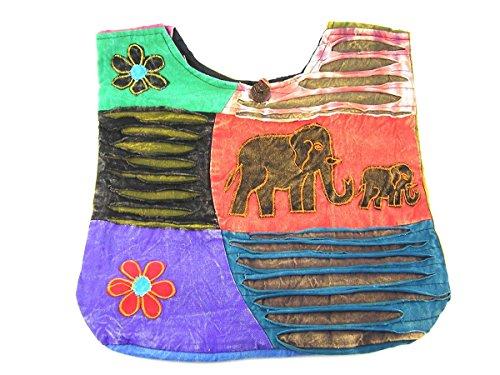 Patchwork Tasche Umhängetasche Handtasche Beuteltasche Tragetasche Schultertasche Tiermotiv Farbe Elefant