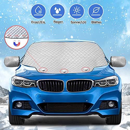 Karvipark Auto Frontscheibenabdeckung, Magnetisch Windschutzscheibe Abdeckung mit Seitenspiegelabdeckung, Frontscheibe für Winter Schneeabdeckung und Scheibenwischer UV-Schutz SUV Modell (147×120cm)