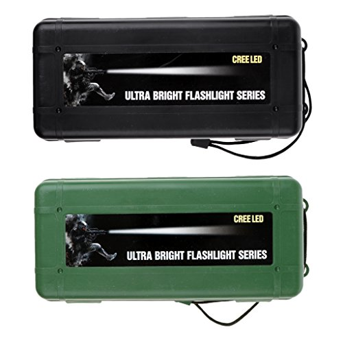 Sharplace 2pcs Étui De Rangement Étanche Lumière Lampe Torche Boîte de Stockage Boîte de Transport - Noir et Vert, XL