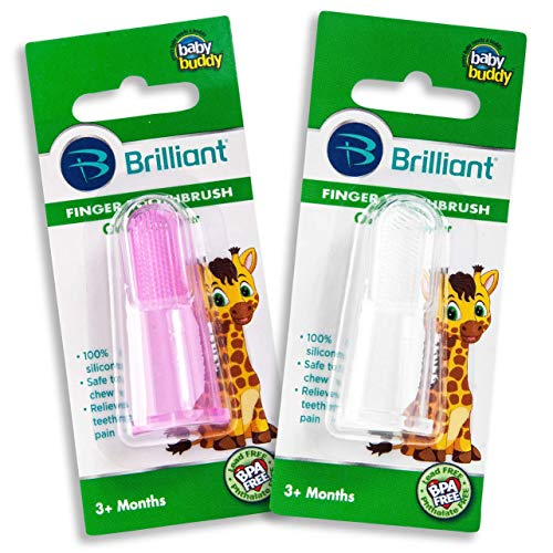 Brilliant Baby Finger Toothbrush - Silicone Gum Massager and Teether Brush for Babies and Toddlers - Kids Love Them, Pink/Clear, 2 Count