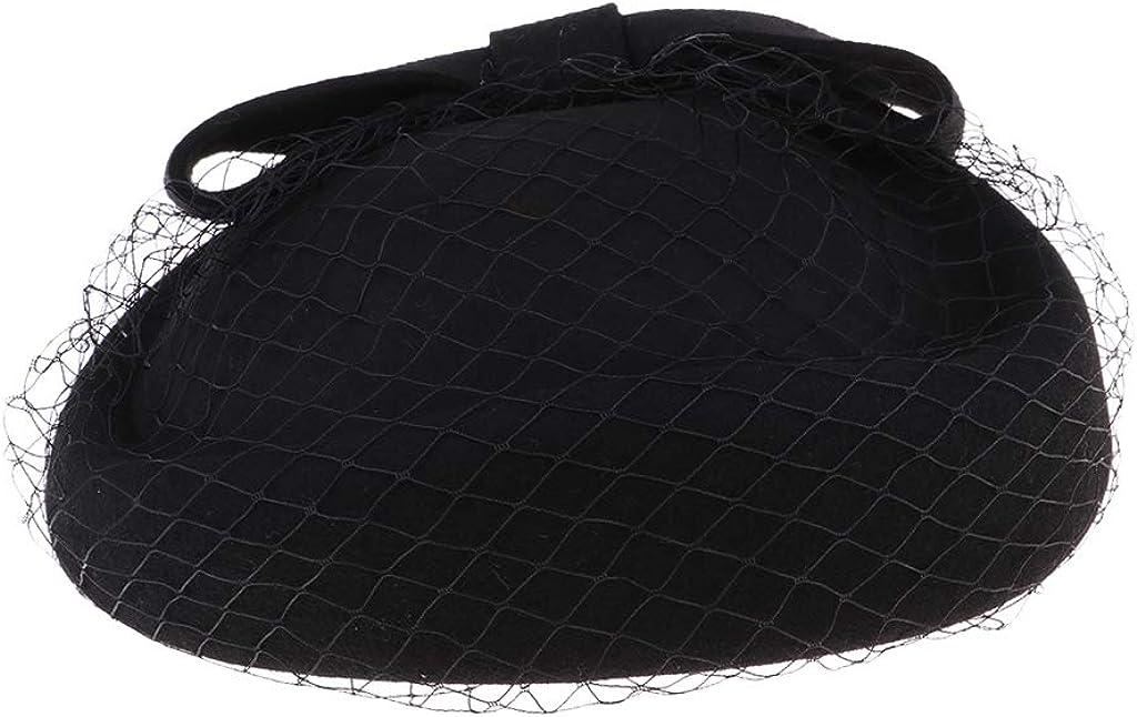 Lady Handmade Wool Race Wedding Fascinator Veil Pillbox Hat Bowknot Beret