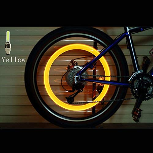 QWERTG 2PCS Bicycle LED Light Tire Valve Cap Bicycle Flash Light Mountain Road Bike Cycling Tyre Wheel Lights LED Neon Lamp Cover Wheel (Color : Yellow)