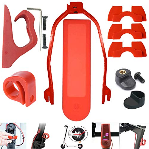 chuancheng for Xiaomi Mijia M365/M365 Pro M187 Electric Scooter Accessories Pack Set 1 Hook, 1 Rear Fender Support, 1 Dashboard Cover, 3 Rubber, 1 Fender Hook, 1 Cover, 1 Wrench Buckle (Red)