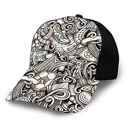 HARLEY BURTON Unisex Baseball Cap Printed Football Sports Shoes Score Trophy Stopwatch Adjustable Splicing Hip Hop Cap Sun Hat
