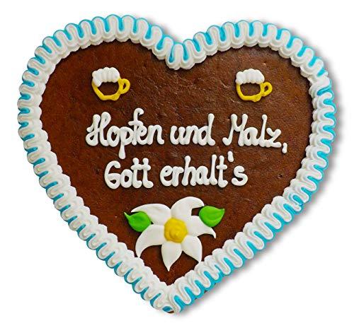Lebkuchenherz 23cm mit Spruch - Hopfen und Malz, Gott erhalts | Oktoberfest Accessoires | Lebkuchen Herz mit Spruch | Biersprüche | Oktoberfest Lebkuchenherzen bestellen von LEBKUCHEN WELT