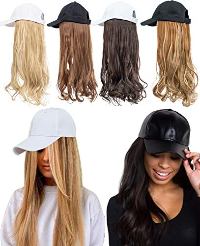 Baseball Cap with Wig Hair Hats with Hair Attached 24' Black Cap with Hair Attached Long Wavy Hair for Women Girls ladies Daliy Party Cosplay