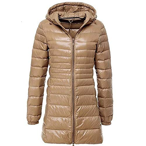 Gentle Illusion Winter Jackets Women White Duck Down Long Jacket Padded Hooded Parkas Ultra Light Portable Down Coats,Khaki,5XL