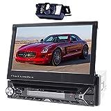 Alling Intégré au Tableau de bord support motorisé 17,8cm à écran tactile de voiture DVD/CD/USB/SD/MP4/MP3Lecteur DVD de navigation GPS Bluetooth Panneau avant amovible télécommande sans fil + Caméra arrière