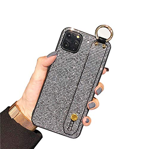 QfireQ Funda Glitter Compatible con iPhone 12/12 Pro/12 Pro Max/12 Mini Correa de muñeca de Lujo con Diamantes Brillantes y Lazo de cordón Cover de TPU Flexible Antideslizante,Negro,11