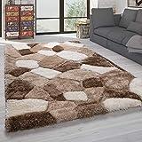 Paco Home Hochflor Teppich Wohnzimmer Shaggy Weich 3D Muster, Soft Garn in versch. Designs, Grösse:160x230 cm, Farbe:Beige