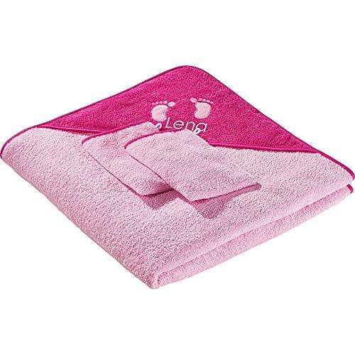Erwin Müller Kinder-Frottierset, Badeset 3-TLG. mit Namen rosa Größe 100x100 cm - 1 x Kapuzenbadetuch, 2 x Waschhandschuh, weich und saugstark
