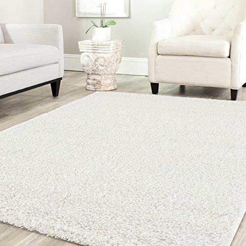 Shaggy Teppich Farbe Hochflor Langflor Teppiche Modern für Uni Farben, Farbe:Creme, Maße:140x200 cm