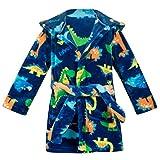 Kids Little Boys Girls Cartoon Hooded Bathrobe Toddler Robe Pajamas Sleepwear ((4-5 Years), Dark Blue Dinosaur)