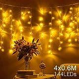 Quntis Erweiterbar 144er LED 4m×0,6m Lichtervorhang Eisregen Warmweiß, IP44 Lichterkette mit Stecker Innen Außen, Dekobeleuchtung für Balkon, Terrase, Fenster, Wand, Weihnachten, Party, Hochzeit usw