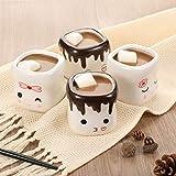 AVAFORT Marshmallow-förmige heiße Schokoladentassen für Paare, passende Tassen, Jahrestag, Weihnachten, Hochzeit, Valentinstag, Geschenk, lustiges Kaffeetassen-Set (Marshmallow Mug-Emoji 2)