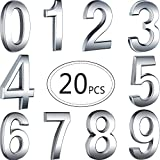 20 Pieces 2.75inch Self-Adhesive Door House Numbers Mailbox Numbers Street Address Numbers for Mailbox Signs, 0 to 9 (Silver)