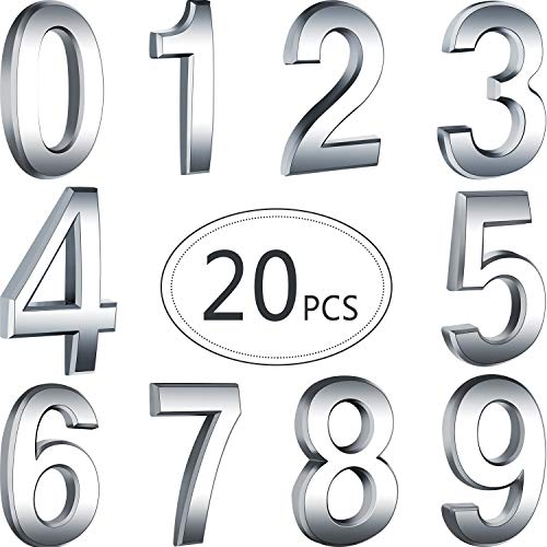 Hotop 20 Pieces Self-adhesive Door House Numbers Mailbox Numbers Street Address Numbers for Mailbox Signs, 0 to 9 (Silver, 2.76 inch)