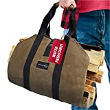 Outdoor 360 Firewood Carrier Bag - Waxed Canvas Tote Bag with...