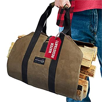 Outdoor 360 Firewood Carrier with Handles – Waxed Canvas Log Carrier for Firewood - Canvas Wood Carrier for Firewood – Best for Carrying Wood at Home or Camping