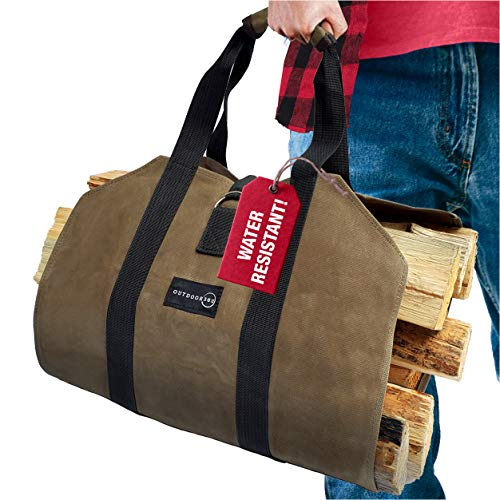 Outdoor 360 Firewood Carrier Bag - Waxed Canvas Tote Bag with Handles to Easily Carry Logs - Best for Carrying Wood at Home Or Camping