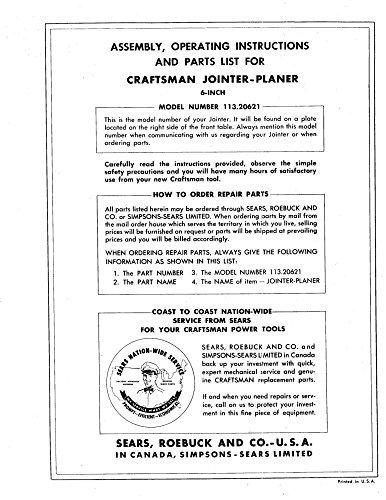 1960s Craftsman 113.20621 6-1/8 Jointer-Planer Instructions Reprint [Plastic Comb]