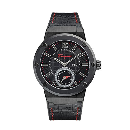 Price comparison product image Salvatore Ferragamo Men's F-80 Stainless Steel Swiss-Quartz Watch with Leather Calfskin Strap,  Black,  24 (Model: FAZ020016)