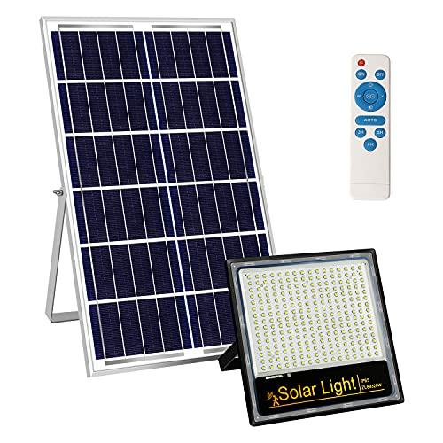 Kingwei 200W Focos LED Exterior Solares, Proyector con Detector de Radar, Luz Solar Exterior Mando a Distancia, 6500K Luz Blanca, Impermeable IP65, Foco con Placa Solar 240 LEDs Para uso Exterior