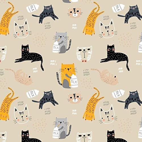 Pingianer Tela de algodón 100 % para niños, por metros, artesanía, tela de costura, diseño de gato con leche beige, 100 x 160 cm